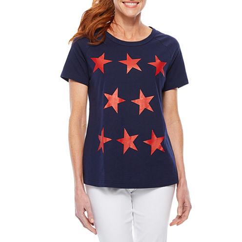 Sag Harbor Stars And Stripes Short Sleeve Crew Neck T-Shirt-Womens