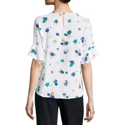 Liz Claiborne Short Sleeve Ruffle Blouse - Tall