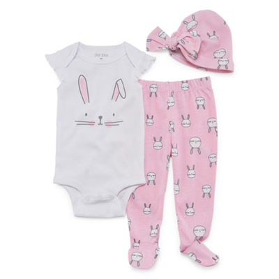 Okie Dokie Pink Bunny Bodysuit, Footed Pant, & Hat Set - Baby Girl NB-9M