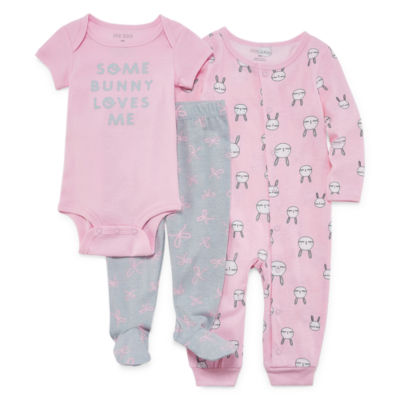 Okie Dokie 3-pc. Bodysuit Set-Baby Girls