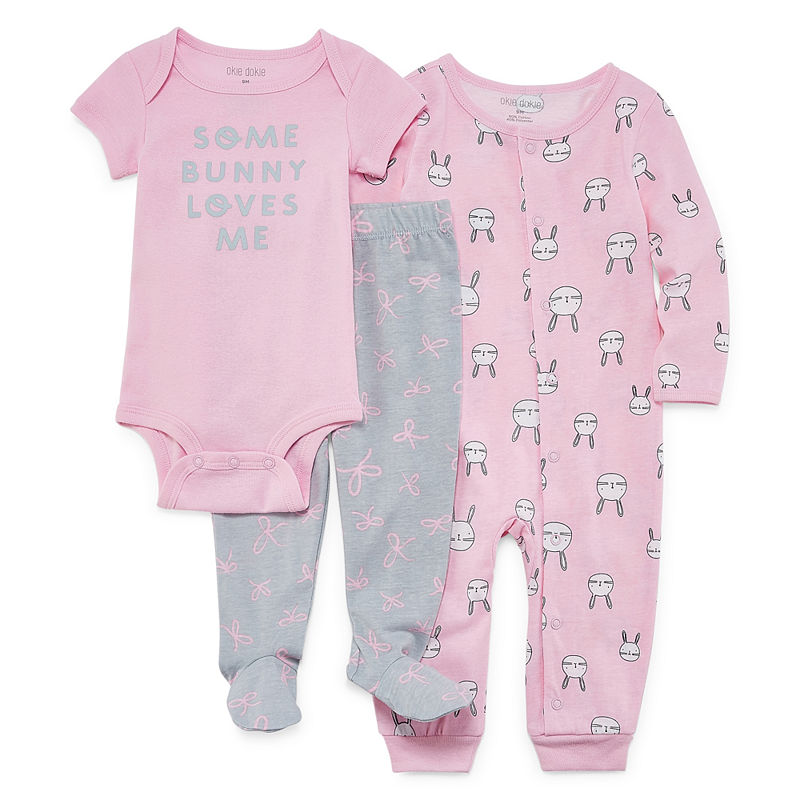 Okie Dokie Pink Bunny 3-pc. Layette Set, Girls, Bunny, Size 6 Months