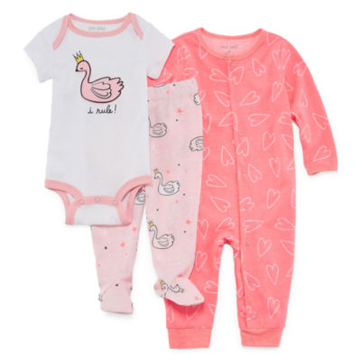 Okie Dokie Swan 3-pc. Layette Set-Baby Girls NB-9M