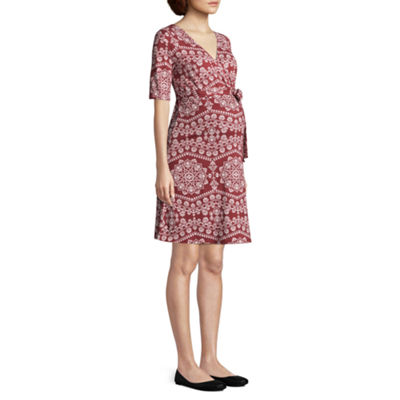 Elbow Sleeve Belted Surplice Dress - Maternity