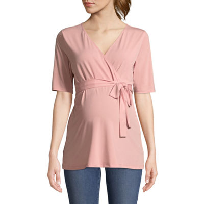 Elbow Sleeve Surplice Top - Maternity