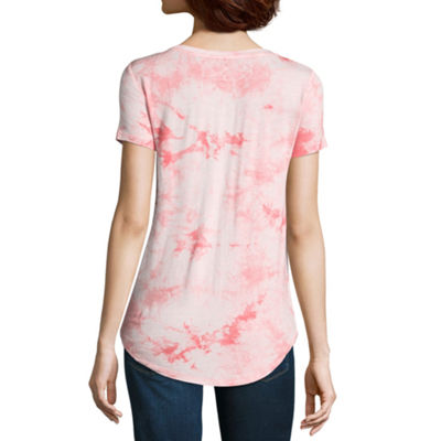Wallflower Short Sleeve Crew Neck Tie Dye T-Shirt-Womens Juniors