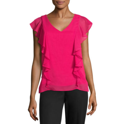 by&by Sleeveless V Neck Chiffon Blouse-Juniors