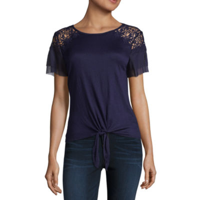 by&by Short Sleeve Scoop Neck Knit Blouse-Juniors