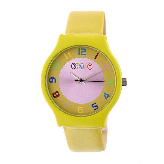 Crayo Unisex Adult Yellow Strap Watch-Cracr4604