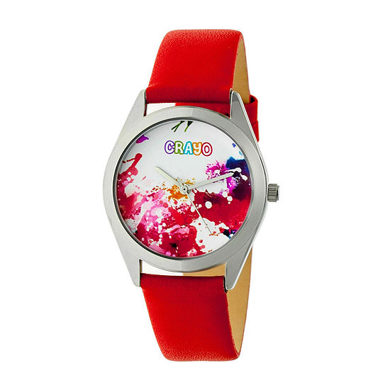 Crayo Womens Red Leather Strap Watch-Cracr4002