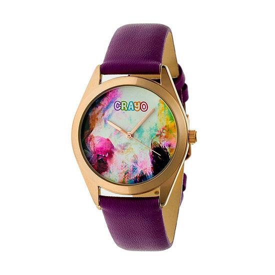 Crayo Womens Purple Leather Strap Watch-Cracr4006