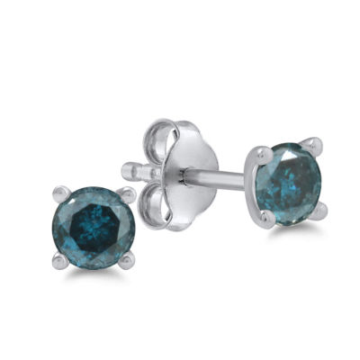 1/4 CT. T.W. Blue Diamond 14K White Gold 4mm Round Stud Earrings