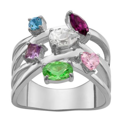 Personalized Womens Multi Color Crystal Brass Crossover Cocktail Ring