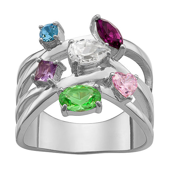 Personalized Womens Multi Color Crystal Crossover Cocktail Ring