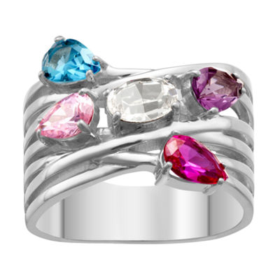 Personalized Womens Multi Color Crystal Brass Crossover Ring