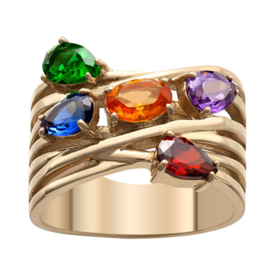 Personalized Womens Multi Color Crystal 18K Gold Over Brass Crossover Cocktail Ring