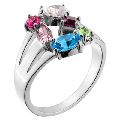 Personalized Womens Multi Color Crystal Cocktail Ring