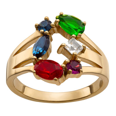 Personalized Womens Multi Color Crystal 18K Gold Over Brass Cocktail Ring