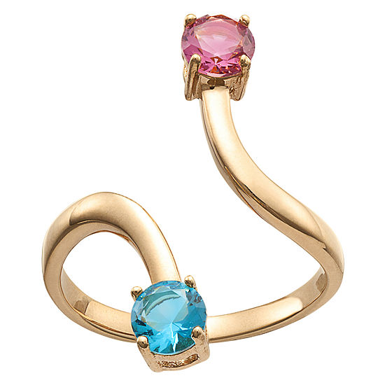 Personalized Womens Multi Color Crystal 18K Gold Over Silver Cocktail Ring