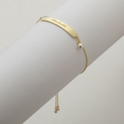 Personalized Womens 14K Gold Over Silver Link Bracelet