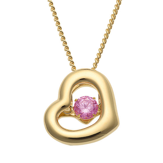 Personalized Womens Multi Color Cubic Zirconia 14k Gold Over Silver Heart Pendant Necklace