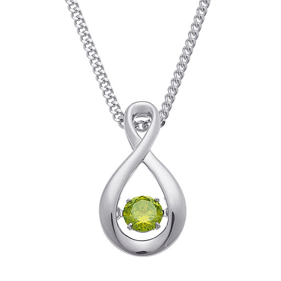 Personalized Womens Multi Color Cubic Zirconia Sterling Silver Round Pendant Necklace