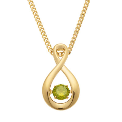 Personalized Womens Multi Color Cubic Zirconia 14K Gold Over Silver Round Pendant Necklace