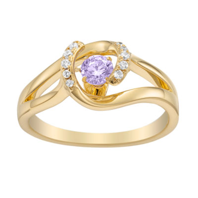 Personalized Womens Multi Color Cubic Zirconia 18K Gold Over Silver Round Cocktail Ring