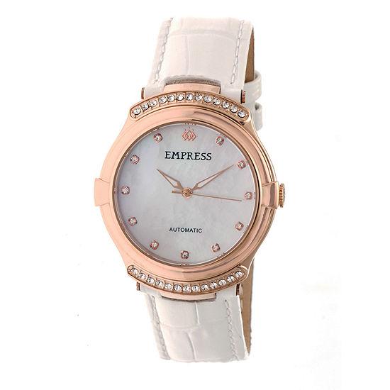 Empress Unisex Adult White Leather Strap Watch-Empem2205