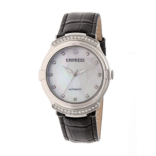 Empress Unisex Adult Black Leather Strap Watch-Empem2201