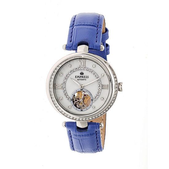 Empress Unisex Adult Purple Leather Strap Watch-Empem2103