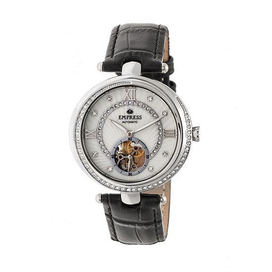 Empress Unisex Adult Black Leather Strap Watch-Empem2101
