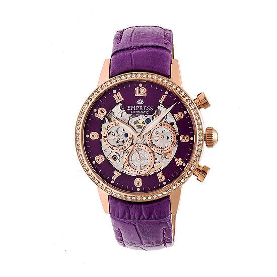 Empress Unisex Adult Purple Leather Strap Watch-Empem2006