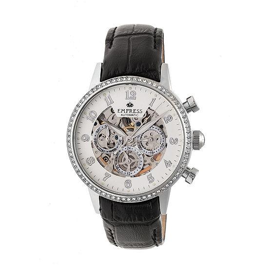 Empress Unisex Adult Black Leather Strap Watch-Empem2001