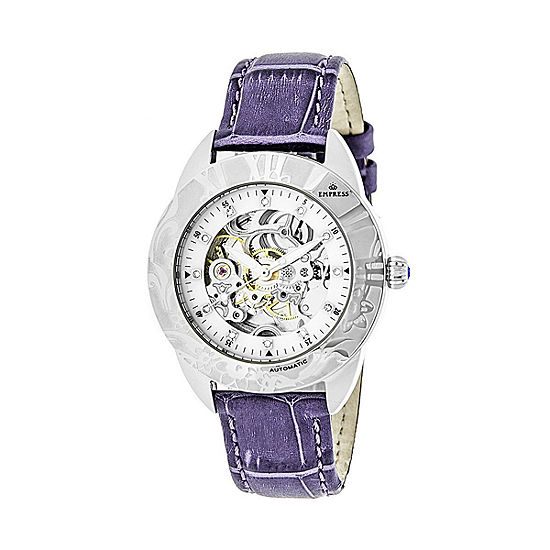 Empress Unisex Adult Purple Leather Strap Watch-Empem1105