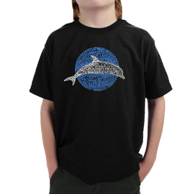 Los Angeles Pop Art Boy's Word Art T-shirt - Species of Dolphin