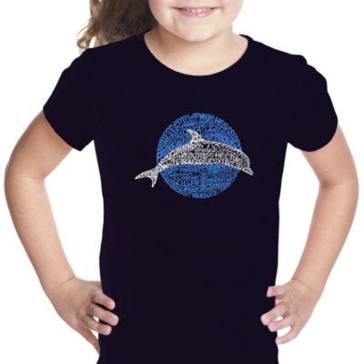 Los Angeles Pop Art Girl's Word Art T-shirt - Species of Dolphin