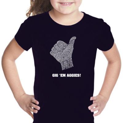 Los Angeles Pop Art Girl's Word Art T-shirt - Gig'Em Aggies