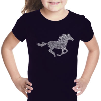 Los Angeles Pop Art Girl's Word Art T-shirt - Horse Breeds
