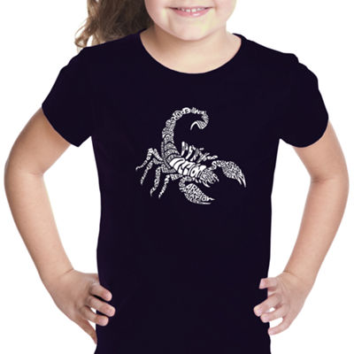 Los Angeles Pop Art Girl's Word Art T-shirt - Types of Scorpions