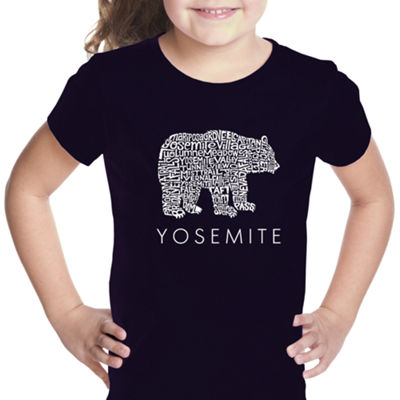 Los Angeles Pop Art Girl's Word Art T-shirt - Yosemite Bear