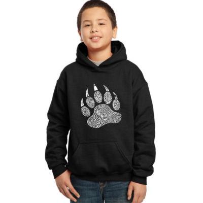 Los Angeles Pop Art Boy's Word Art Hooded Sweatshirt - Types of Bears