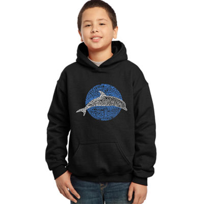 Los Angeles Pop Art Boy's Word Art Hooded Sweatshirt - Species of Dolphin
