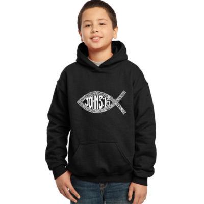 Los Angeles Pop Art Boy's Word Art Hooded Sweatshirt - John 3:16 Fish Symbol