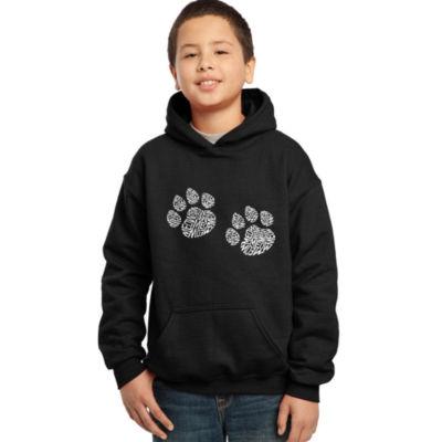 Los Angeles Pop Art Boy's Word Art Hooded Sweatshirt - Meow Cat Prints