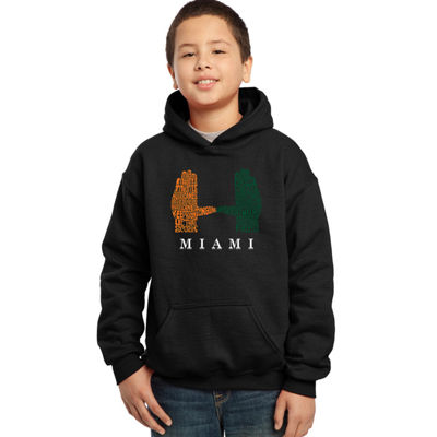Los Angeles Pop Art Boy's Word Art Hooded Sweatshirt - Miami Hurricanes Hand Symbol