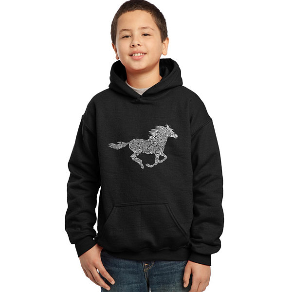 Los Angeles Pop Art Boy's Word Art Hooded Sweatshirt - Horse Breeds