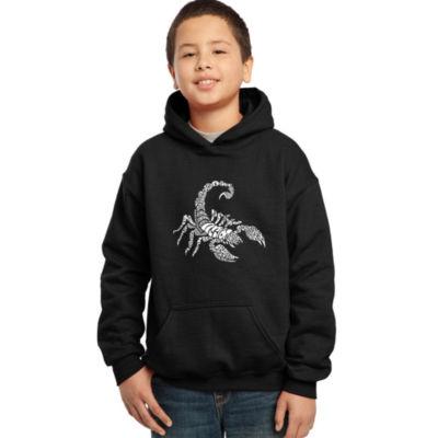 Los Angeles Pop Art Boy's Word Art Hooded Sweatshirt - Types of Scorpions