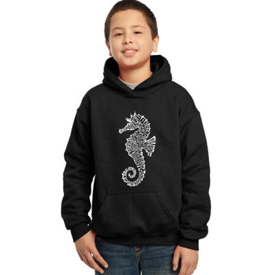 Los Angeles Pop Art Boy's Word Art Hooded Sweatshirt - Types of Seahorse
