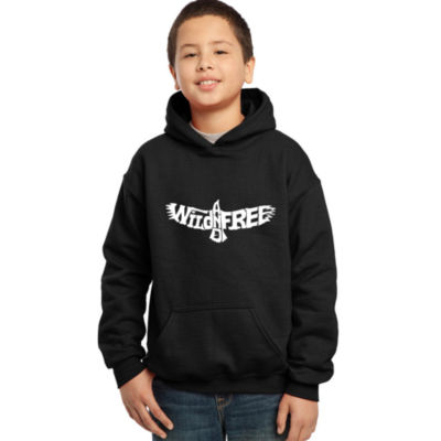 Los Angeles Pop Art Boy's Word Art Hooded Sweatshirt - Wild and Free Eagle