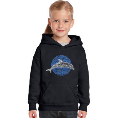 Los Angeles Pop Art Girl's Word Art Hooded Sweatshirt - Species of Dolphin